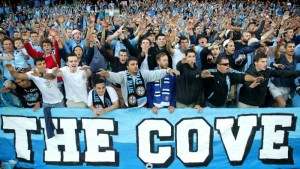 The Cove, Sydney FC Supporters group, in full voice. (courtesy of foxsports.com.au)