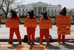 Protester campaign for the closure of Guantanamo Bay outside the White House