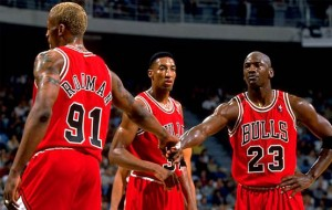Image from 95-96 Bulls season including Michael Jordan (far right) (courtesy of warriorsworld.net)