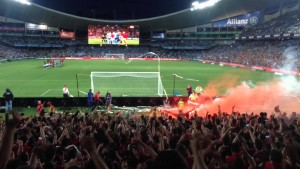 There were no flares this time after plenty of problems for the Wanderers in previous derby's. (courtesy of youtube.com)