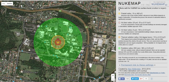 A Nukemap simulation of Superman's Super Flare ability at the UOW campus. Source: NuclearSecrecy.com