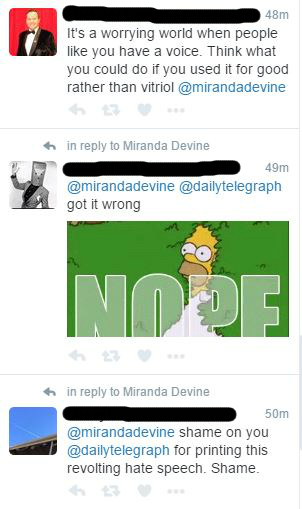 Twitter lash-backs from Devine's article Source