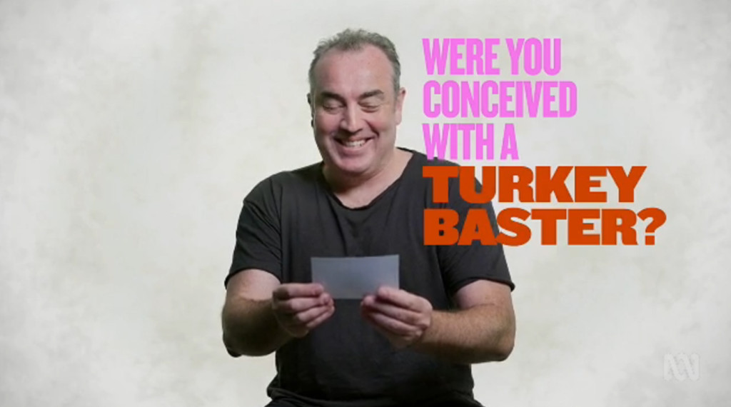 "Man reads out question that asks ""Were you conceived with a turkey baster"" on You Can't Ask That"