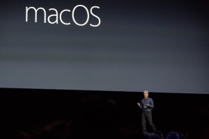 SAN FRANCISCO, CA - JUNE 13: Craig Federighi, Apple's senior vice president of Software Engineering, introduces the new macOS Sierra software at an Apple event at the Worldwide Developer's Conference on June 13, 2016 in San Francisco, California. Thousands of people have shown up to hear about Apple's latest updates. (Photo by Andrew Burton/Getty Images)