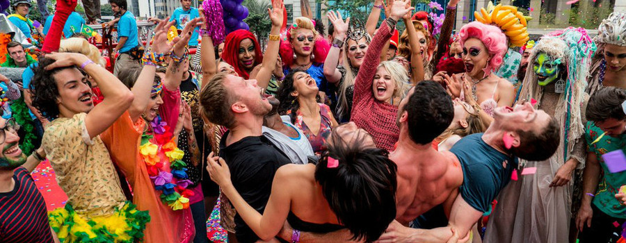 Image of the main characters of Sense8 celebrating in an episode from Season 2