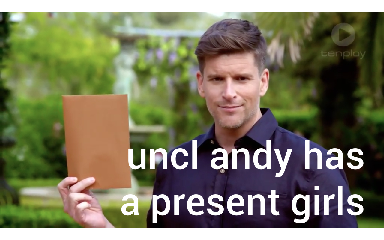 My favourite uncle Andy supplying the girls with the goods. Source.