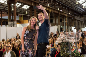 Facebook's Alexandra Sloane taking a selfie with the crowd at Millennial 20/20. Source.