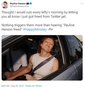 Screenshot of a Tweet of Pauline Hanson in a car with the window down