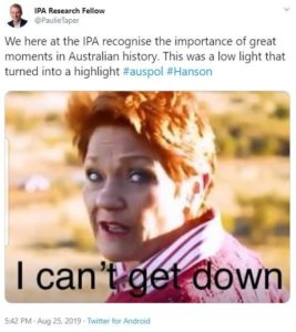 Screenshot of a Tweet where Pauline Hanson is stuck on and the caption reads 'I can't get down'
