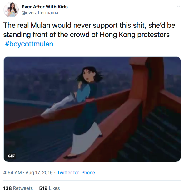 Mulan social media backlash