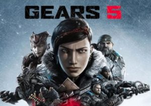 Gears 5 logo with several characters in winter jackets against a cold grey or blue background