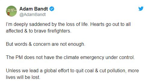 bush fire adam bandt