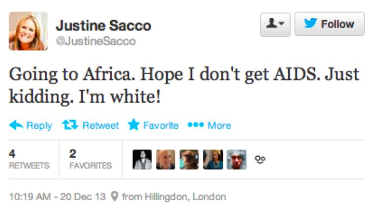 racist tweet woman fired