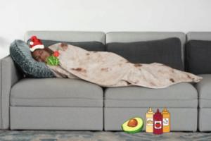 Secret Santa idea via Wish - Burrito Blanket
