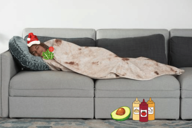 Secret Santa idea via Wish - Burrito Blanket