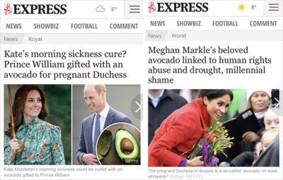 express headlines royal contradiction avocado