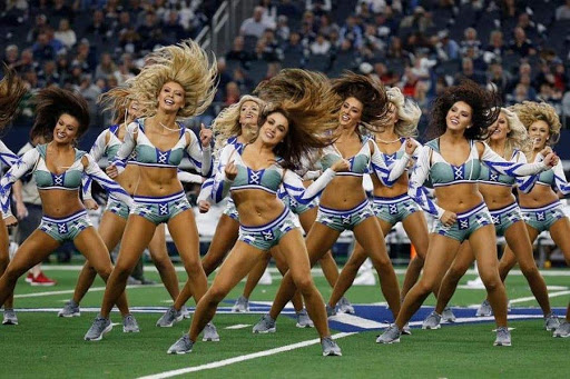 cheerleaders performing at the super bowl