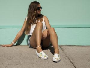 girl sitting down wearing bondi shoe club shoes valentine's day gift