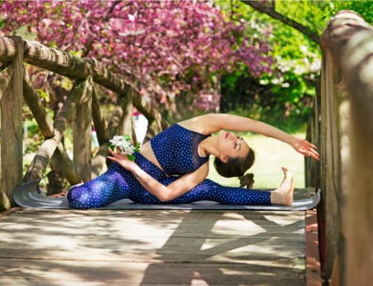 woman doing yoga pose. health, stress relief, balance hormones