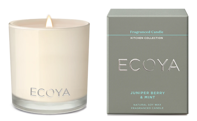 ECOYA candle in scent juniper berry and mint maisy