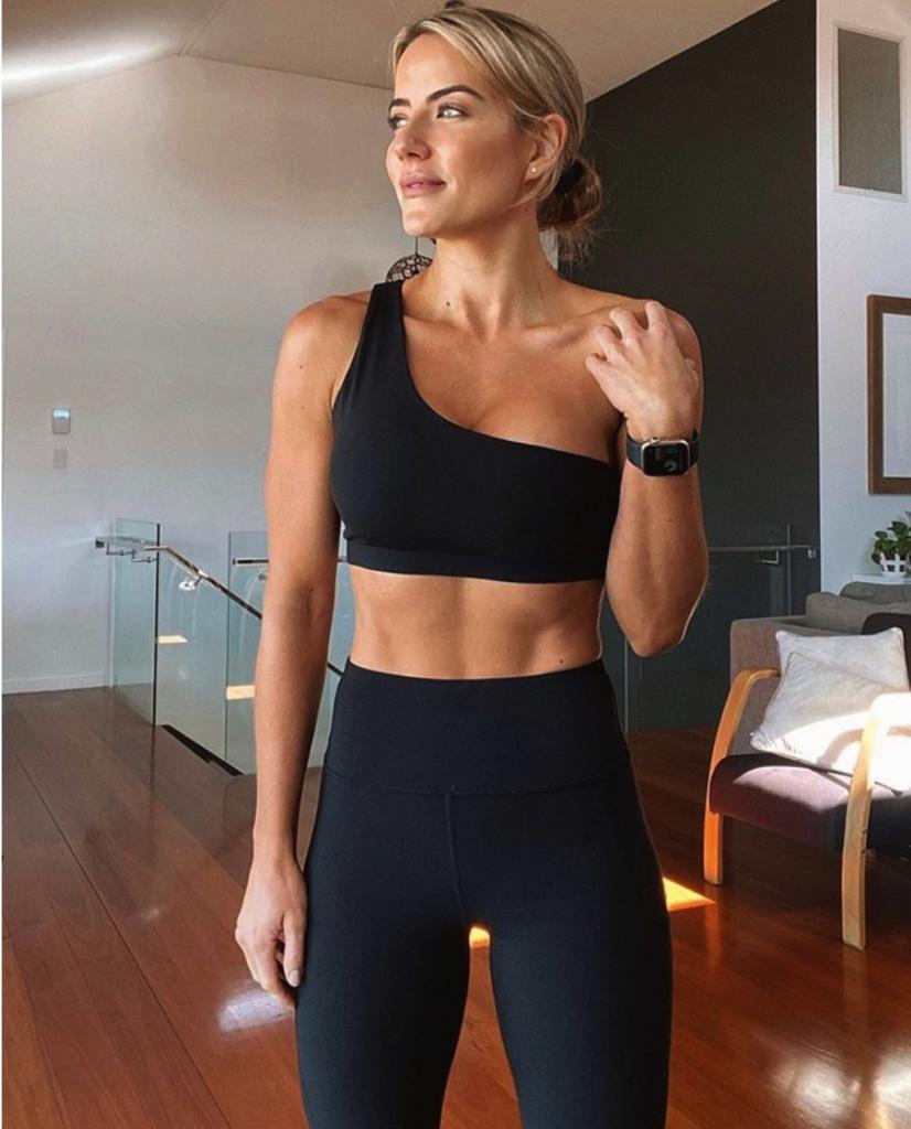one shoulder black active wear set