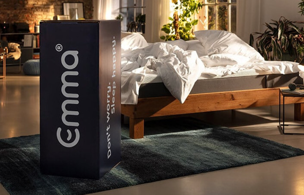 a picture of the box and branding of an Emma Mattress